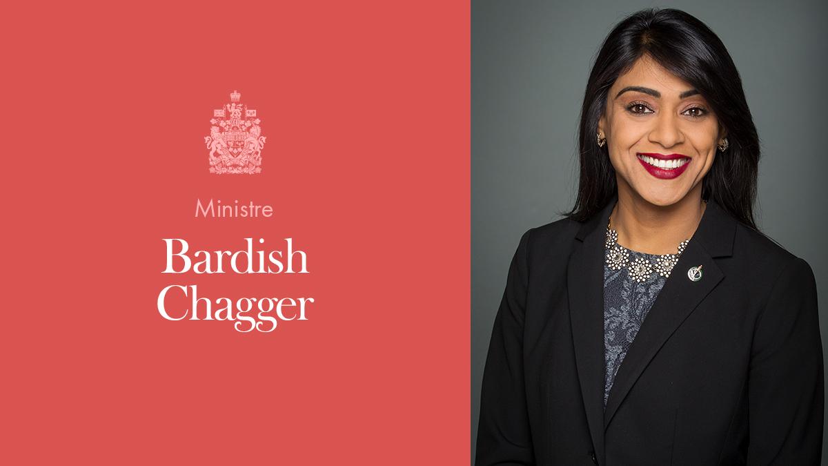 L'honorable Bardish Chagger, ministre de la Diversité et de l'Inclusion et de la Jeunesse